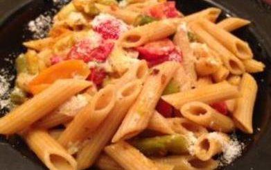 pasta, basil, the three tomatoes,