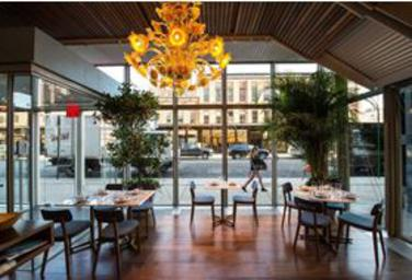 Santina: A Coastal Fantasy, santina restaurant, high line park, gansevort street, gael greene review, the three tomatoes