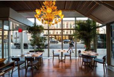 Santina: A Coastal Fantasy, santina restaurant, high line park, gansevort street, gael greene review, the three tomatoes
