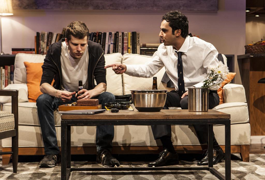 Jesse Eisenberg, Kunal Nayyar as Kalyan, The Spoils, broadway reviews, valerie smaldone, the three tomatoes