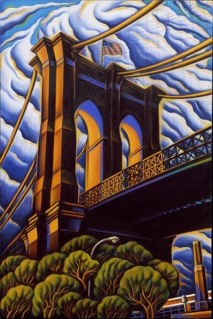 BASCOVE / BRIDGES Transporting the Metropolis , brooklyn bridge, bascove, art galleries nyc, the three tomatoes
