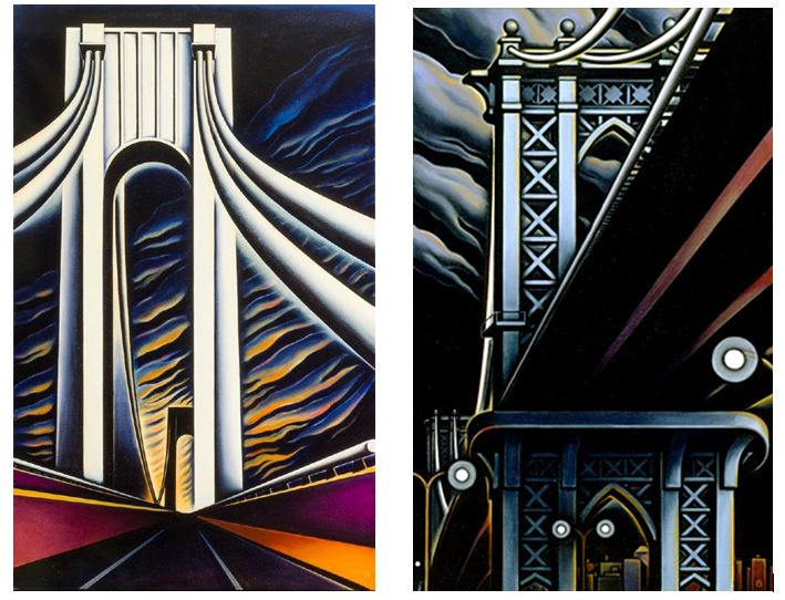BASCOVE / BRIDGES Transporting the Metropolis , Verrazano Narrows Bridge, Manhattan Bridge, Bascove, art galleries, the three tomatoes