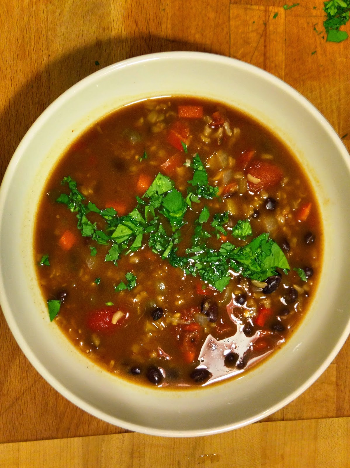 recipe: black bean and rice soup, the three tomatoes