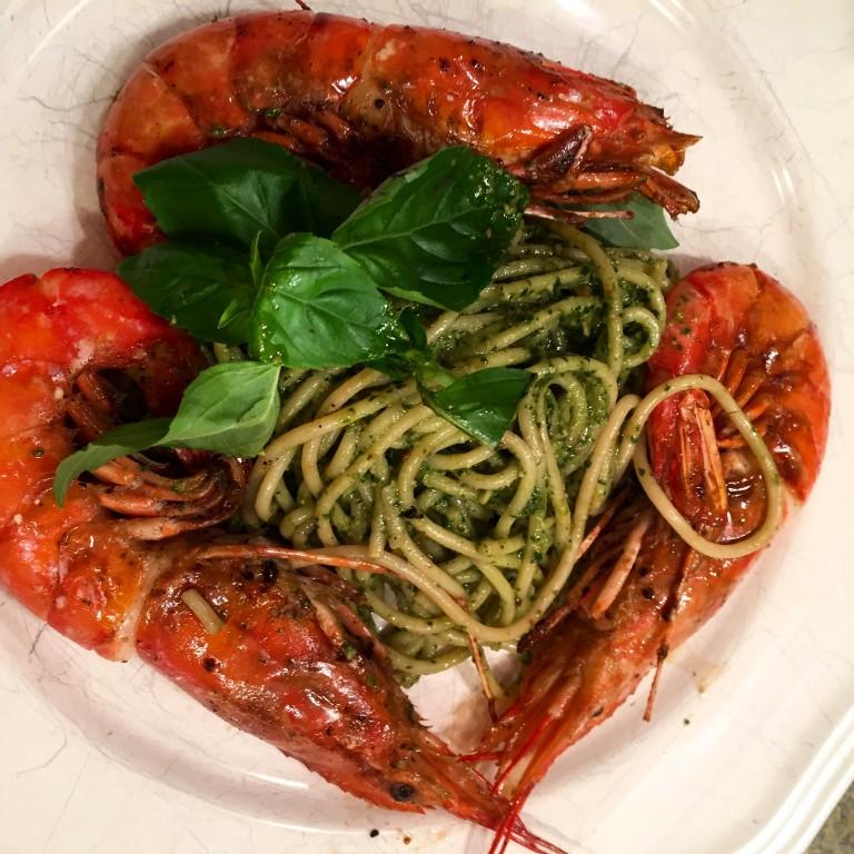 Pesto Spaghetti with Grilled Prawns