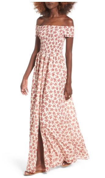 2f1425010101 Welcome warmer days in this flowy maxi dress styled with a deep front slit  and smocked bodice that show off a bit of skin.  220.00 Nordstrom.