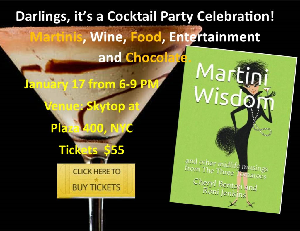 Martini Wisdom Cocktail and book party event