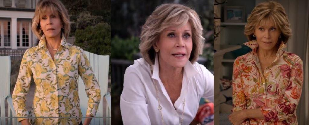 Grace's style on Grace & Frankie Season 5, blouses