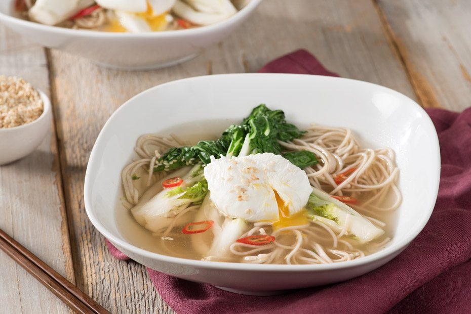 Soba Noodle & Bok Choy Soup with Poached Eggs