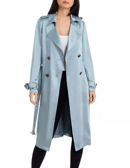 blue swing trench coat