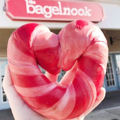 the bagelnook, heart shaped bagels