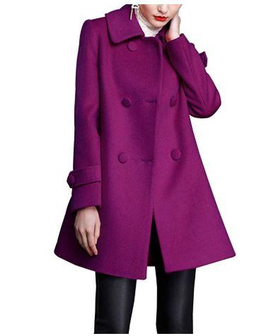 purple swing wool coat