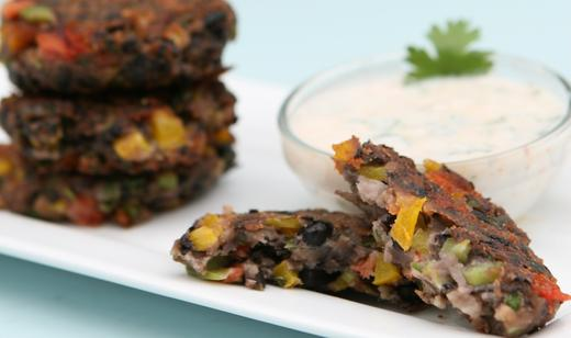 Black Bean Cakes with Florida Tomatoes and Spicy Yogurt Sauce