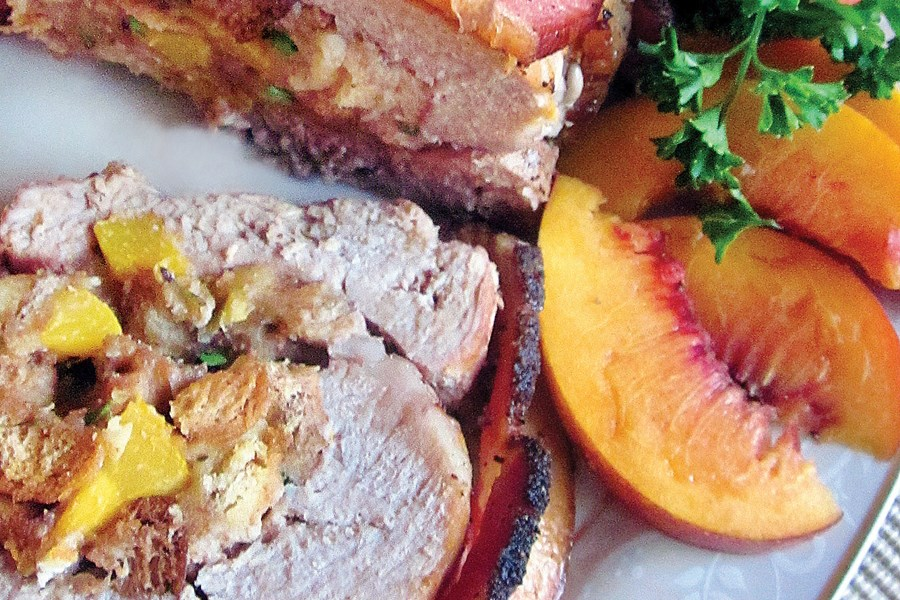 Bacon-Wrapped Pork Loin with Peach & Blue Cheese Stuffing
