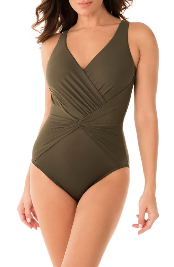 MIRACLESUIT<SUP>®</SUP> Rock Solid Twist Front One-Piece Swimsuit, Main, color, OLIVETTA